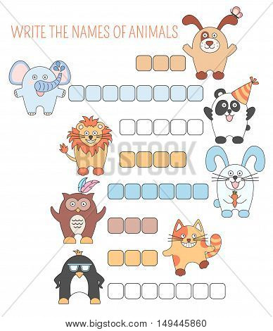 Crossword animals, game with words for children