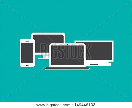 Computer devices with smart phone, office computer and laptop, flat design