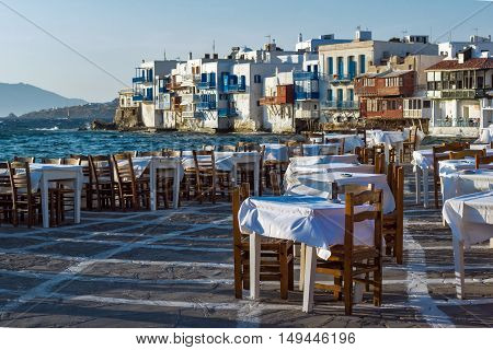 Typical Restaurant and Little Venice at Mykonos, Cyclades Islands, Greece