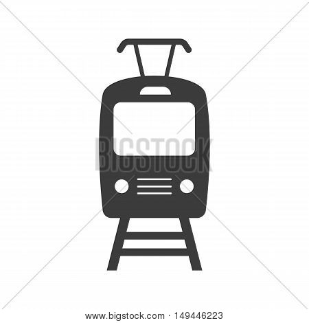 Tram icon. Tram Vector isolated on white background. Flat vector illustration in black. EPS 10