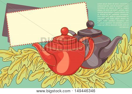 cute banner/menu card for cafe with teapots and leaves, vector illustration