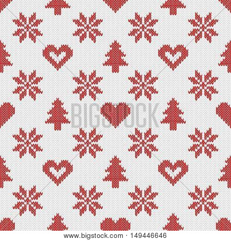 Knitted seamless pattern with snowflakes, vector illustration
