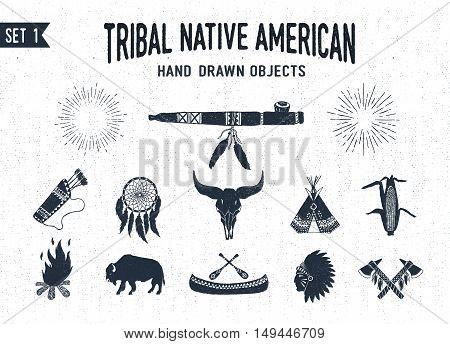 Hand drawn tribal icons set with peace pipe dream catcher buffalo skull teepee corn bonfire buffalo canoe chief and tomahawks vector illustrations.