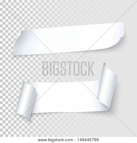 Set of realistic white paper with curled corners and shadows, isolated on transparent background, vector illustration