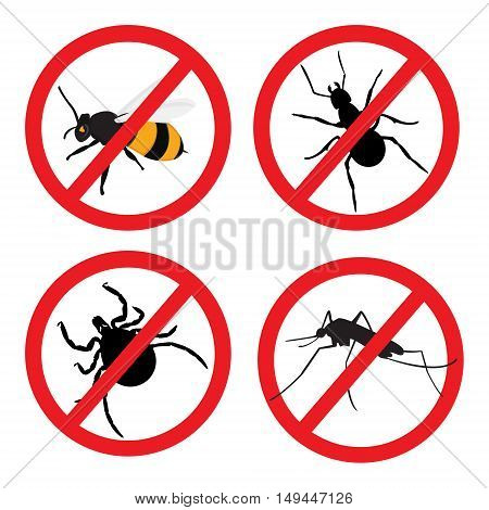 Vector illustration insect prohibition sign. Mite mosquito bee and ant