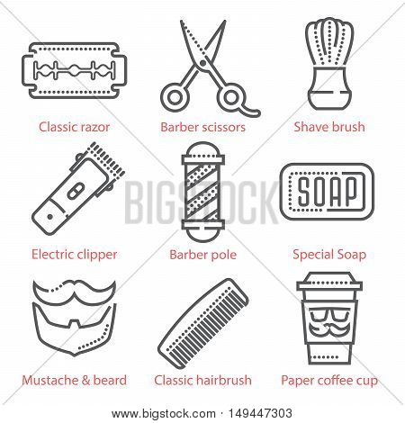 Vector Thin Line Icons Set With Barber Shop Equipment And Accessories For Infographics And Ux Ui Kit
