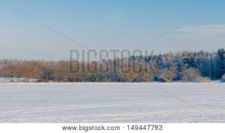Beautiful landscape on the frozen sea in winter sunny day