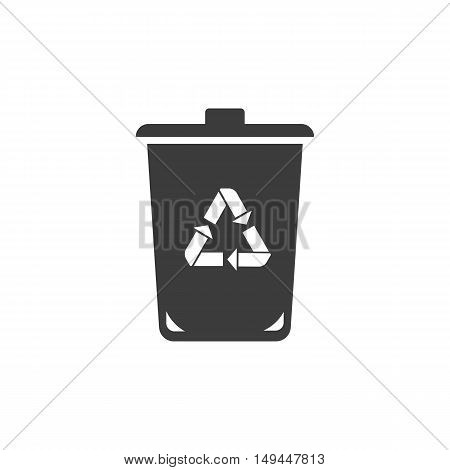 Trashcan icon. Trashcan Vector isolated on white background. Flat vector illustration in black. EPS 10