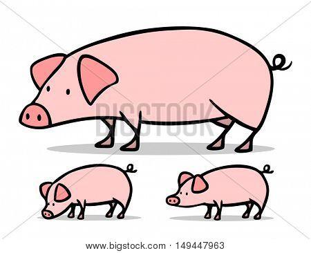Pig and piglet of the farm cartoon animal set
