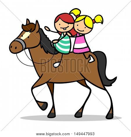 Two cartoon children riding a horse together