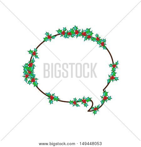 Speech bubble. Holly Wreath, round frame. Vector hand drawn background, design element for Christmas and New Year greeting card or banner. Holly with berry, isolated on white