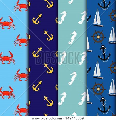 Vector illustration seamless pattern background with seahorse. Undersea world. Red crab on blue background. Seafood. Seamless pattern navy with luxury yacht steering wheel anchor.