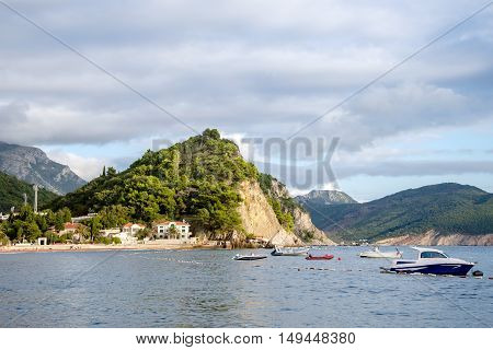 view of the mountains and the sea in the Bay of Petrovac