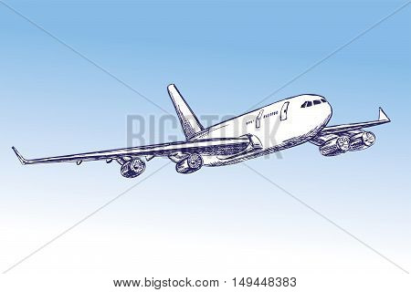 airliner, aircraft hand drawn vector llustration realistic sketch