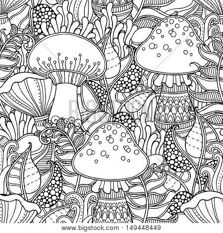 Seamless pattern in doodle style. Floral, ornate, decorative, tribal, forest vector design elements. Black and white background. Grass, rocks, fern, mushroom. Zentangle hand drawn coloring book page