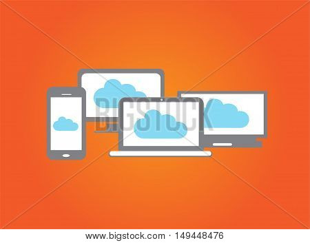 Computer devices with smartphone, office computer, laptop and cloud orange background