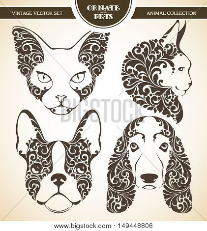 Vector set ornamental decorative pets. Cats and dogs patterned head illustration. Animal graphic art. French Bulldog, sphynx cat, Basset Hound, Maine Coon