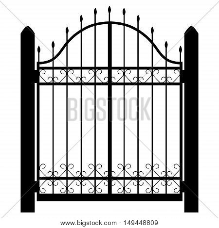 Vector illustration wrought iron modular railing and fence. Vintage gate with swirls. Fence silhouette isolated decorative shape. Architecture gate and fence objects
