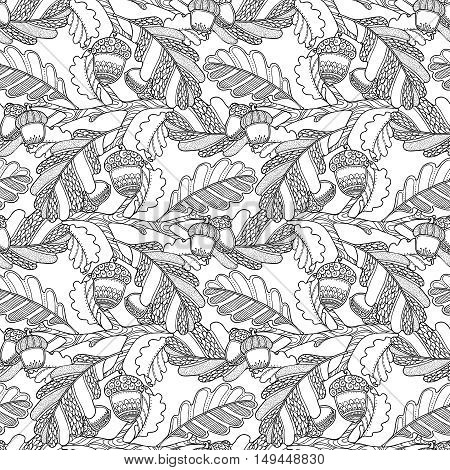 Seamless pattern in doodle style. Floral, ornate, decorative, tribal vector design elements. Black and white monochrome background. Oak leaves and acorns. Zentangle hand drawn coloring book page
