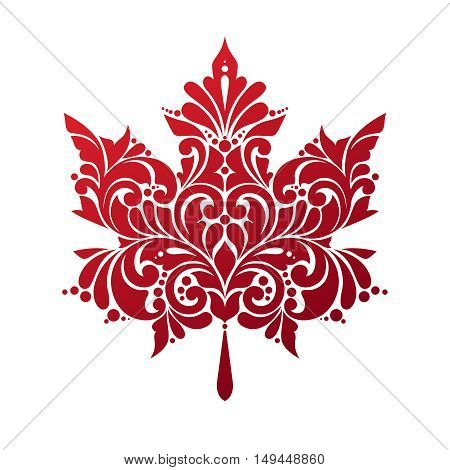Ornate red maple leaf isolated on white background. Vector illustration. Decorative leaf icon symbol. Stylized Canadian flag.