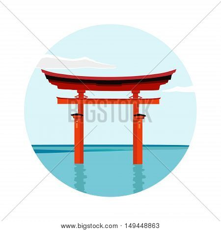 Torii gate national landmark vector illustration. Japanese gate fuji mountain. Japanese culture