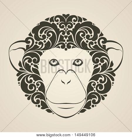 Ornamental decorative monkey. Monkey patterned face isolated icon logo Vector illustration. Animal graphic art.