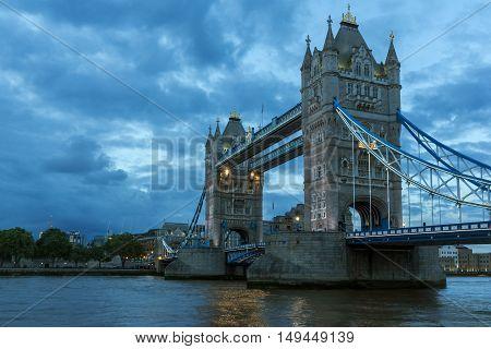 Night photo of Tower Bridge in London, England, United Kingdom