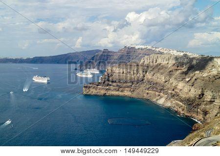 Panorama of the bay of Santorini (Greece)