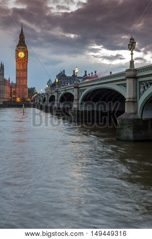 Night view of Westminster Bridge and Big Ben, London, England, United Kingdom