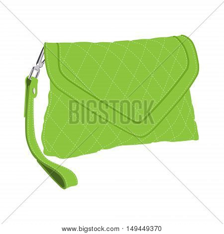 Vector illustration green fashion clutch bag. Clutch purse. Evening bag