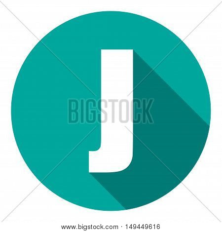 Letter J with a long shadow. Vector illustration EPS10
