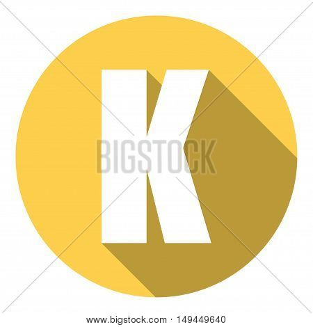 Letter K with a long shadow. Vector illustration EPS10