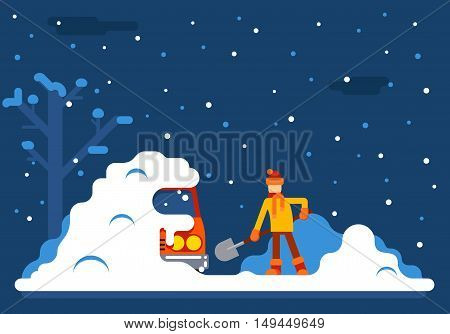 Winter Man Digs Car Out Snow Background Flat Design Vector Illustration
