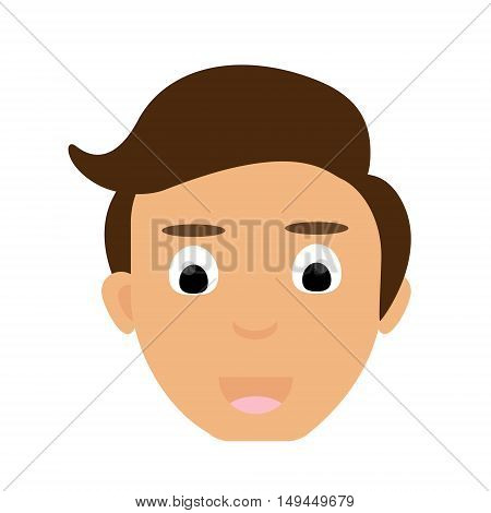 Face portrait of young man vector. Avatar young man face. Happy young man face with brown hair.