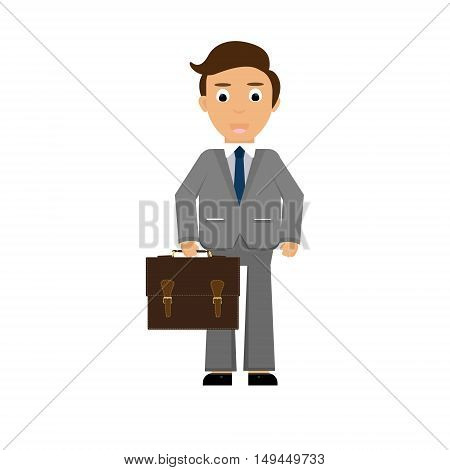 Vector illustration handsome young business man cartoon character with briefcase. Young man. Funny cartoon guy