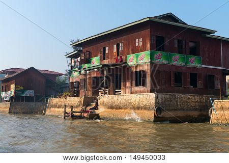 Traditional Housing On Inle Lake In Myanmar.