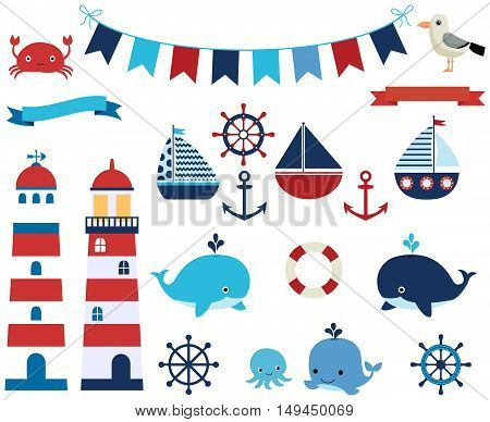 Vector set of nautical and marine elements with sea animals, lighthouses and boats.