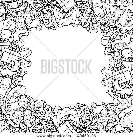 Christmas frame with Christmas tree, gift box, bells in doodle style. Floral, ornate, decorative, tribal design elements. Black and white background. Zentangle coloring book page