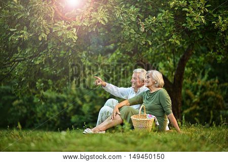 portrait of Amusing old couple on picnic