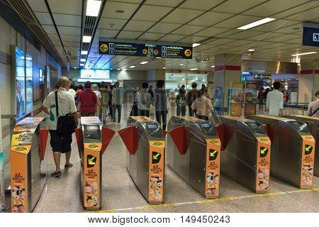 Electronic Turnstile Gates At An Mrt Station In Bangkok.