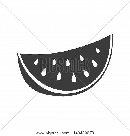 Watermelon Icon. Watermelon Vector Isolated On White Background. Flat Vector Illustration In Black.
