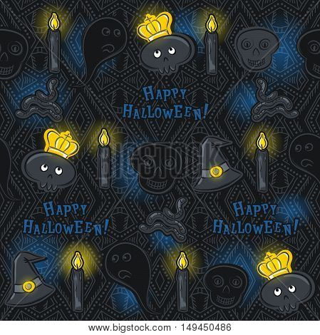 Seamless Pattern with Halloween symbols on black background vector