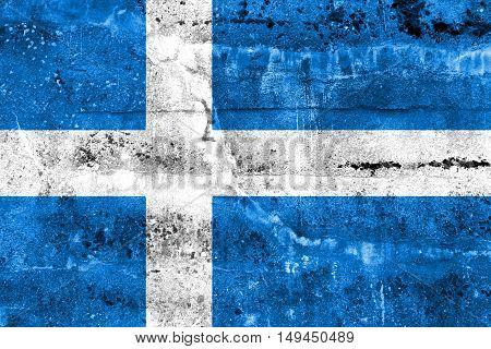 Flag Of Parnu, Estonia, Painted On Dirty Wall