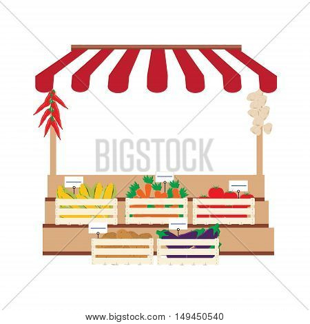 Vector illustration local market selling vegetables produce on his stall with awning. Wooden box with carrots, patotatoes, tomatos, eggplant and corn. Natural product