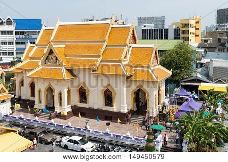 One Of The Temple Buildings Of Wat Traimit, An Important Buddhist Religious Site In Bangkok, With It