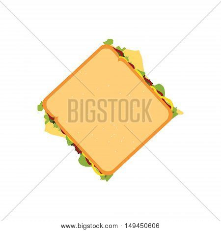 Vector illustration fast food sandwich top view. Sandwich icon.