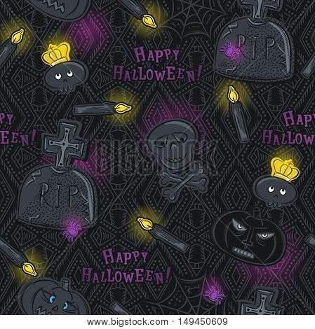 Seamless Pattern with Halloween symbols on black background