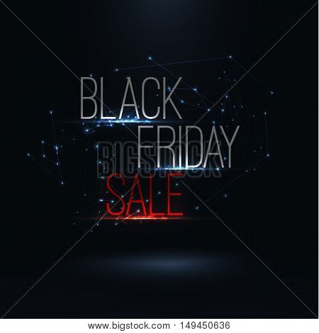 Black friday 2017 sale poster . Big global sale inscription design template .Text with triangle elements and light effects , Vector illustration . Discount up .