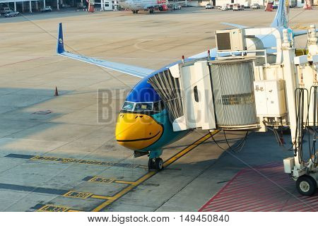 Nok Air Passenger Plane Docked At The Main Terminal Of Don Mueang International Airport In Bangkok,