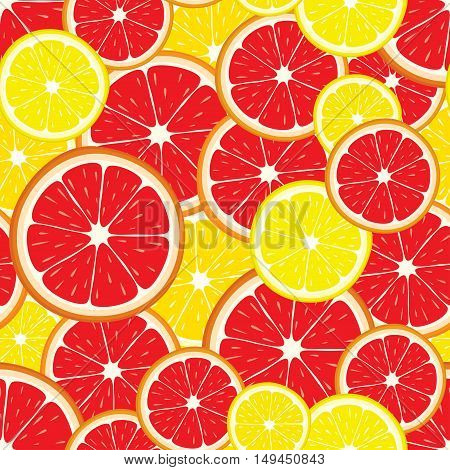 Vector seamless pattern of citrus fruits - lemon and grapefruit slices. Colorful background for cover design.